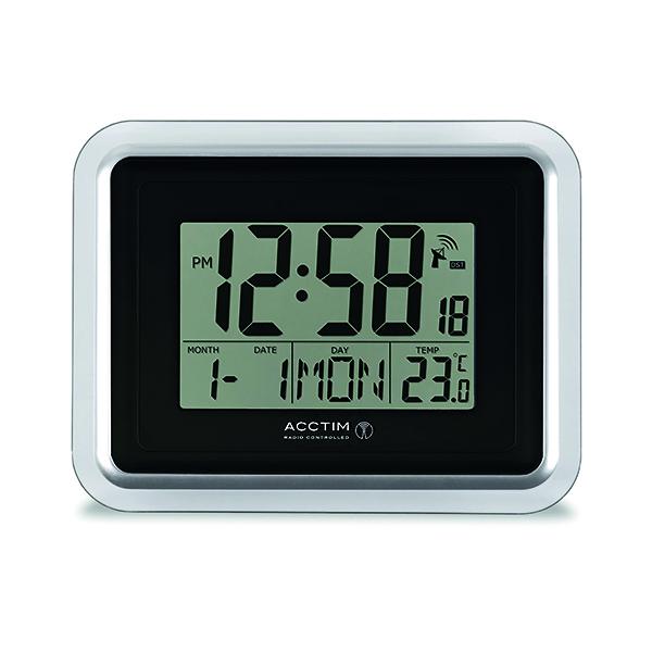 Wall Acctim Delta Radio Controlled Digital Clock Silver/White 74573