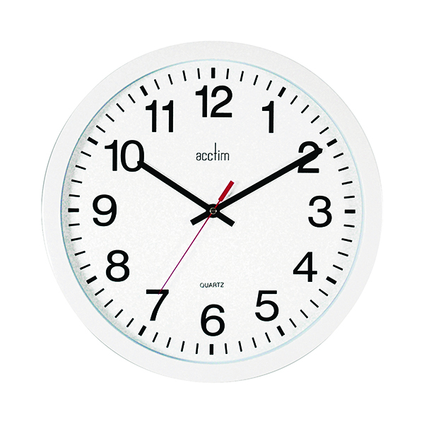 Wall Acctim Controller Silent Sweep Wall Clock 368mm White 93/704