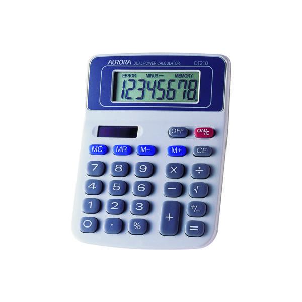 Aurora White/Blue 8-Digit Semi-Desk Calculator DT210