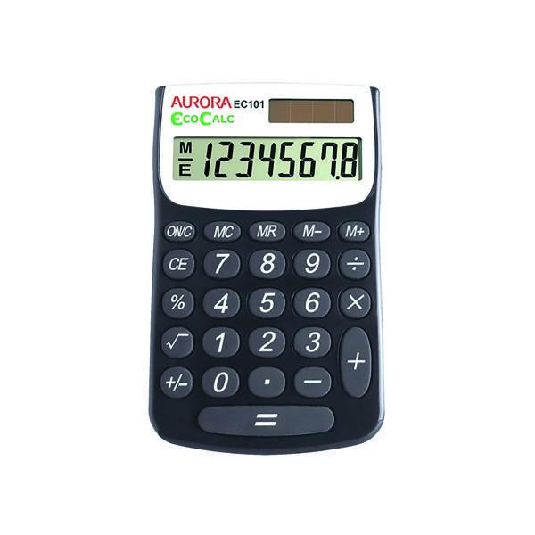 Handheld Calculator Aurora Black/White 8-Digit Handheld Calculator EC101