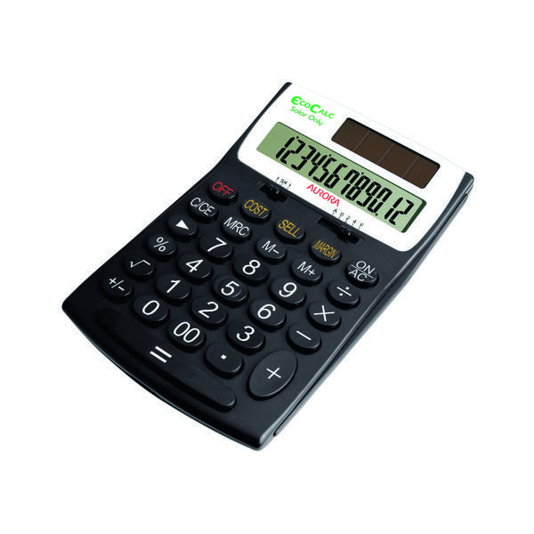 Desktop Calculator Aurora Black/White 12-Digit Desk Calculator EC505