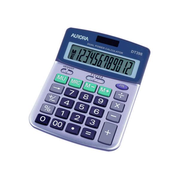 Desktop Calculator Aurora Silver/Grey 12-Digit Semi-Desk Calculator DT398