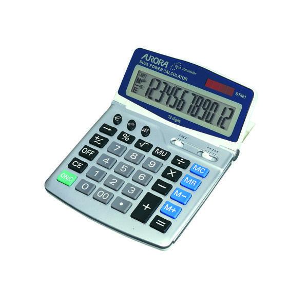 Desktop Calculator Aurora Silver/Grey 12-Digit Desk Calculator DT401