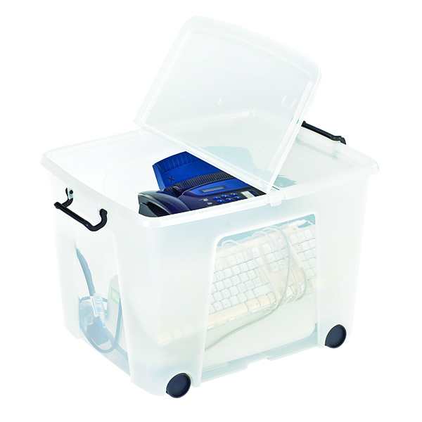 Storage Boxes Strata Clear Smart Wheeled Box 75 Litre HW676-CLR