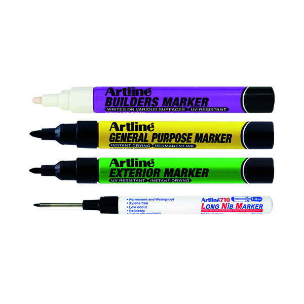 Other Tip Artline EKPRW4 Builders Marker Kit (4 Pack) EKPR BUILDERS W4