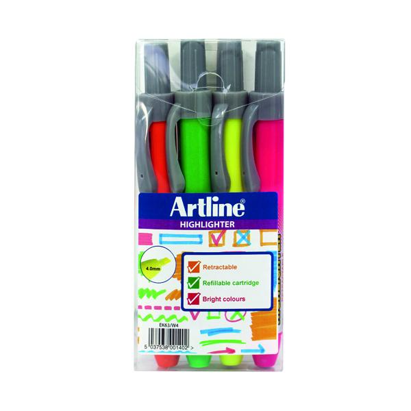 Assorted Artline Clix Retractable Highlighter Assorted (4 Pack) EK63W4