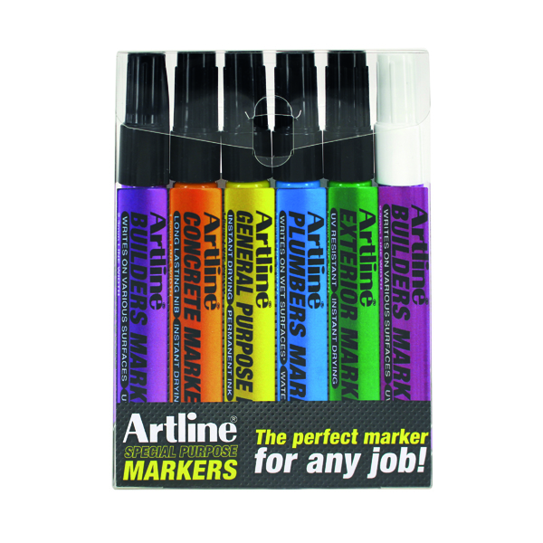 Other Tip Artline EKPRW6 Builders Marker Kit (6 Pack) EKPR BUILDERS W6