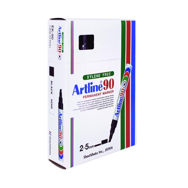 Artline 90 Chisel Tip Permanent Marker Black (12 Pack) A901