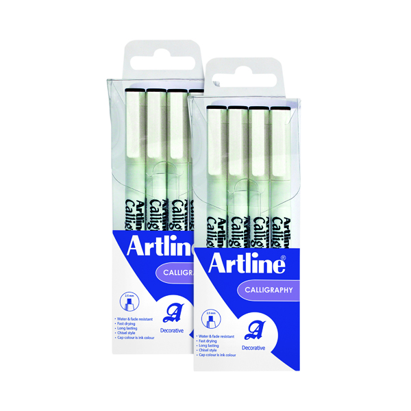 Calligraphy/Italic Artline Calligraphy Pen Set Assorted Width Black (4 Pack) 2For1