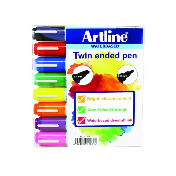 Artline 2-in-1 Flipchart Marker Assorted (8 Pack) EK-325T-W8