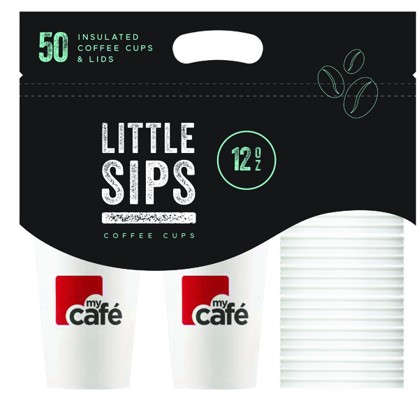 MyCafe Cups Caddy 12oz Cups and Lids (50 Pack) HVDWCP12MC