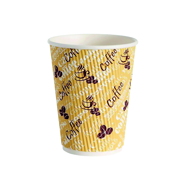 Cups/Mugs/Glasses 4Aces Ripple Red Bean 12oz Paper Cup (500 Pack) HVRWPA12