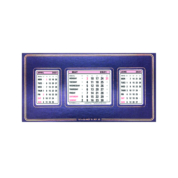 Calendars At-A-Glance Refillable Calendar 3 Month View 2021 3S21