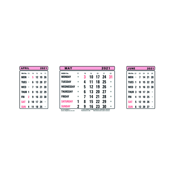Unspecified At-A-Glance Calendar Refill 2021 3 Month View 3SR21