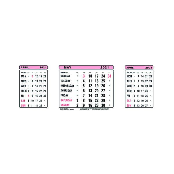 At-A-Glance Calendar Refill 2021 3 Month View 3SR21