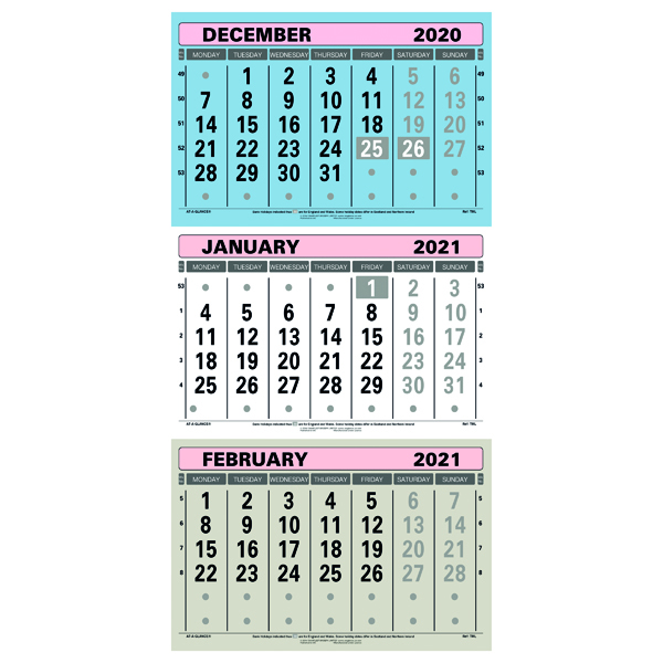 Unspecified At-A-Glance Large Wall Calendar 3 Month View 2021 TML21