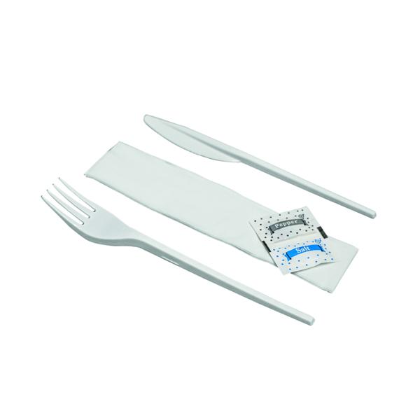 Cutlery Knife Fork Spoon Napkin Salt Pepper Meal Pack (200 Pack) MEALPACK5