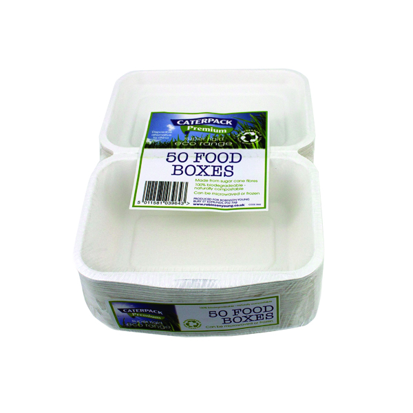 Caterpack Biodegradable Super Rigid Food Boxes (50 Pack) RY03860 / B004