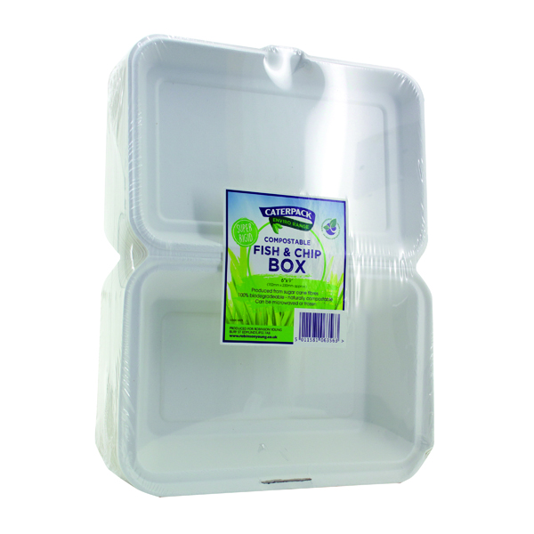 Caterpack Biodegradable Hinged Fish and Chip Container (50 Pack) RY10573 / B030