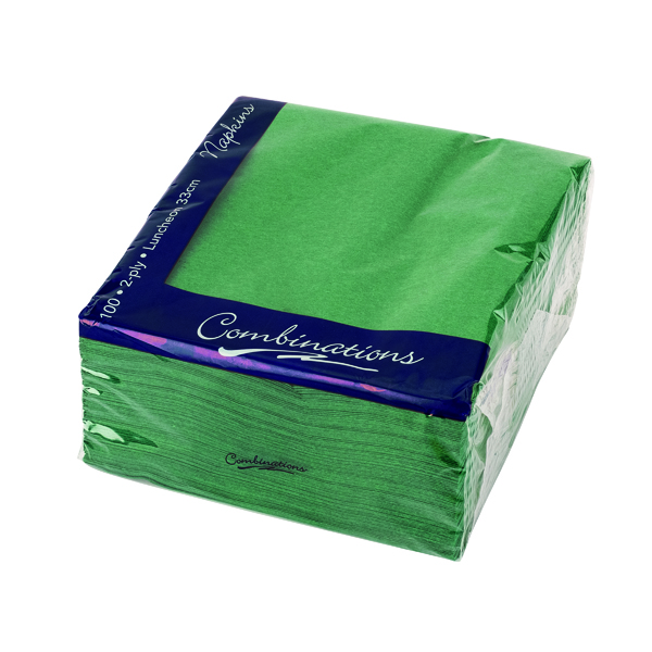 Serviettes/Napkins Combinations Napkin 330mm x 330mm Forest Green (100 Pack) 3324FGCOM