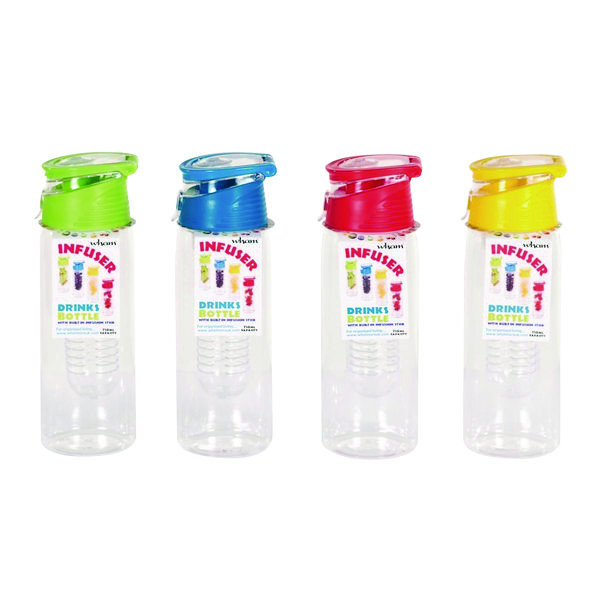 Infuser Reusable Water Bottle 750ml Assorted (12 Pack) 20097