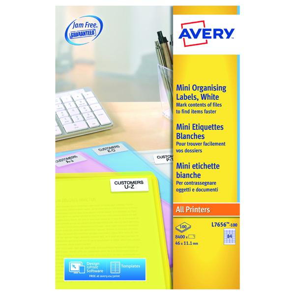 Avery Laser Mini Labels 46mmx11.1mm 84 Per Sheet White (8400 Pack) L7656-100