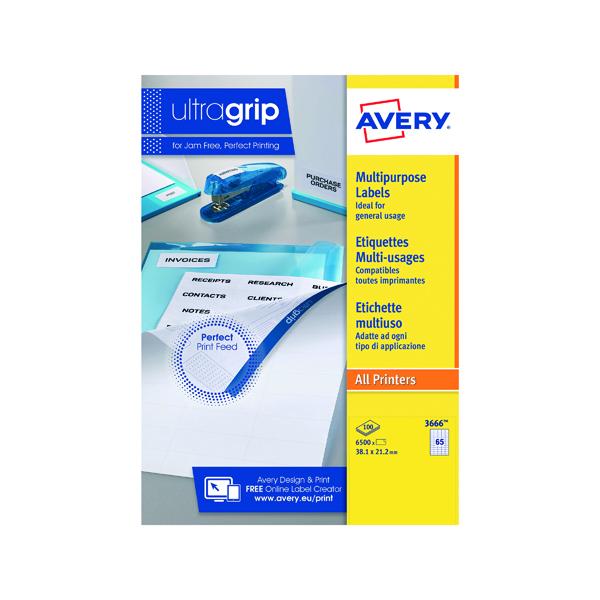 White A4 Sheet Avery Ultragrip Multipurpose Labels 38.1x21.2mm 65 Per Sheet White (6500 Pack) 3666