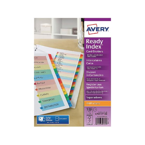 Avery Readyindex Mylar 1-10 Punched 01735501