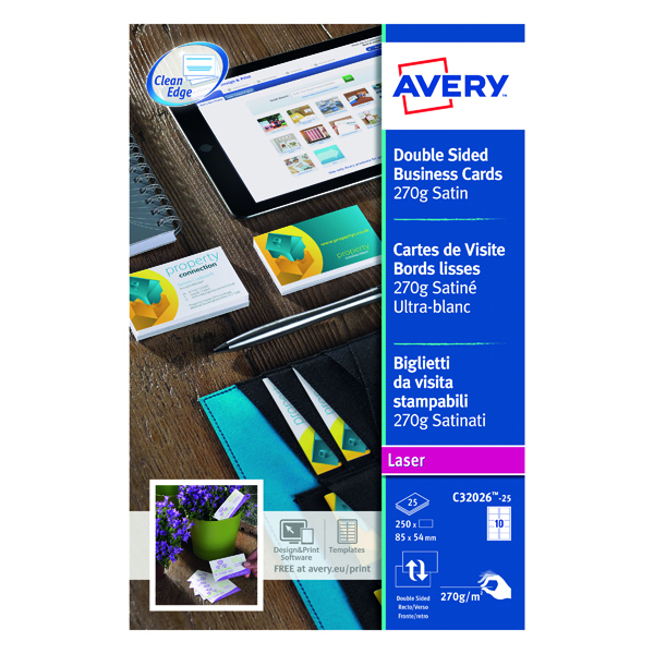 Unspecified Avery Satin White Double Sided Laser Business Cards 85 x 54mm 270gsm (250 Pack) C32026-25