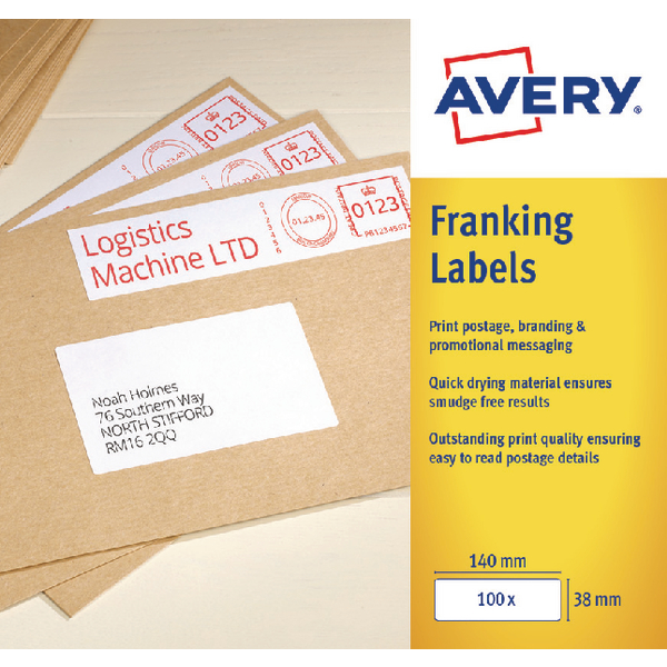Unspecified Avery 194x39mm White Franking Label FL06
