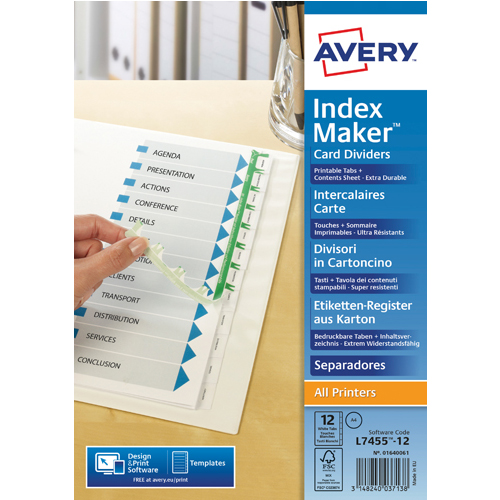 Dividers Avery White Punched Index Maker 12-Part Divider 01640061