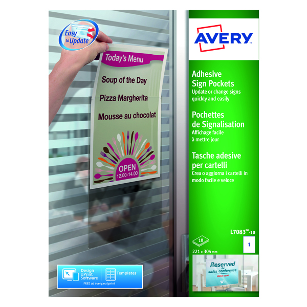 Avery Transparent Adhesive Sign Pockets A4 (10 Pack) L7083-10