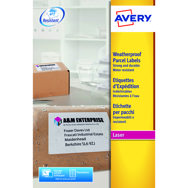 Avery Weatherproof Shipping Label 99.1x67.7mm 8 Per Sheet White (200 Pack) L7993-25