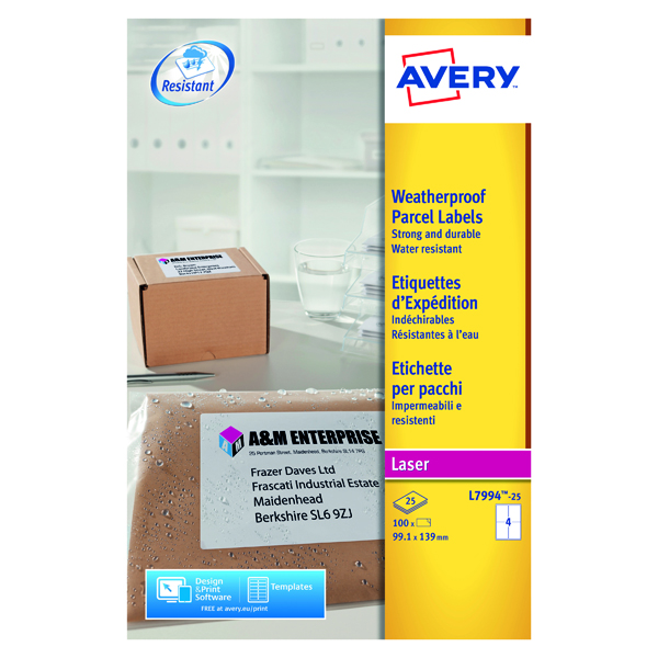 Removable Avery Weatherproof Shipping Label 99.1x139mm 4 Per Sheet White (100 Pack) L7994-25