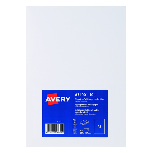 Unspecified Avery Standard Display Labels A3 (10 Pack) A3L001-10