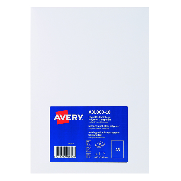 Unspecified Avery Display Labels A3 Clear (10 Pack) A3L003-10