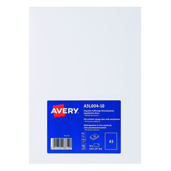 Unspecified Avery Permanent Display Labels A3 (10 Pack) A3L004-10