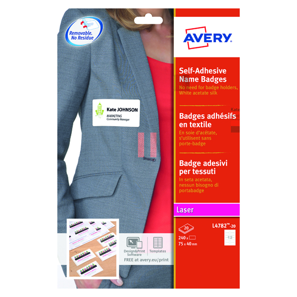 Avery Self Adhesive Name Badge 75x40mm 12 Per Sheet White (240 Pack) L4782-20