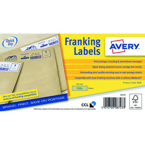 Unspecified Avery Franking Label QuickDRY 140x38mm 1 Per Sheet Kraft Brown (500 Pack) FL17