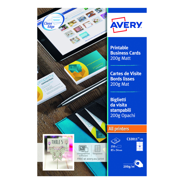 Unspecified Avery Matte White Multipurpose Business Cards 85 x 54mm (250 Pack) C32011-25