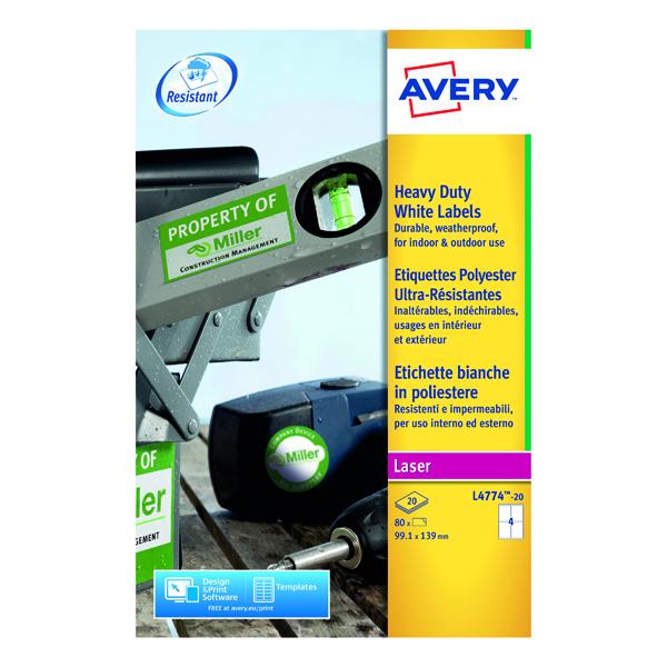 Avery Laser Label Heavy Duty 99x139mm 4 Per Sheet White (80 Pack) L4774-20