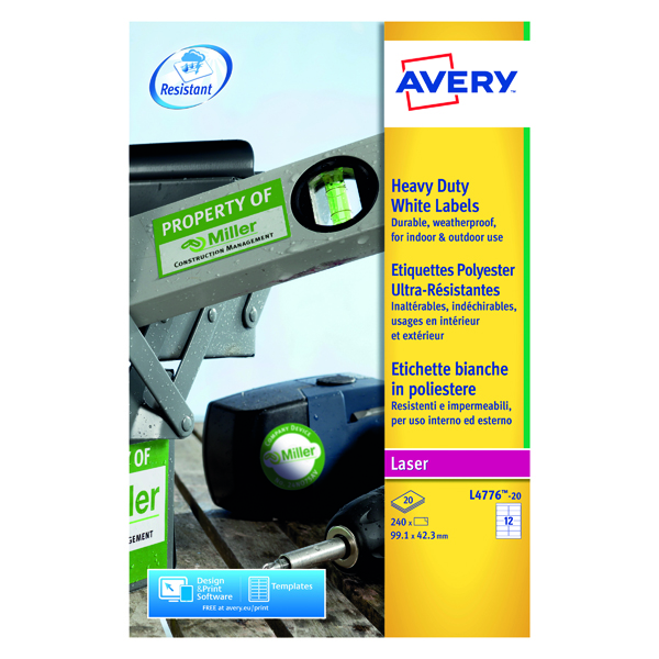 Removable Avery Laser Label 63.5x72mm Heavy Duty White (240 Pack) L4776-20