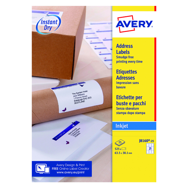 White A4 Sheet Avery Inkjet Address Labels QuickDRY 63.5x38.1mm 21 Per Sheet White (525 Pack) J8160-25