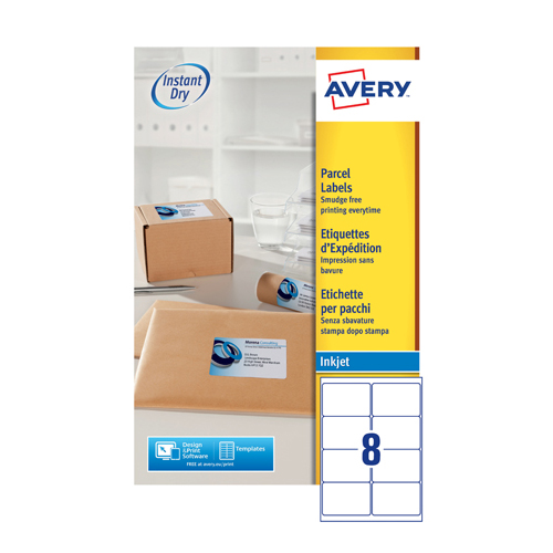 Avery Inkjet Parcel Labels QuickDRY 99.1 x 67.7mm 8 Per Sheet White (200 Pack) J8165-25
