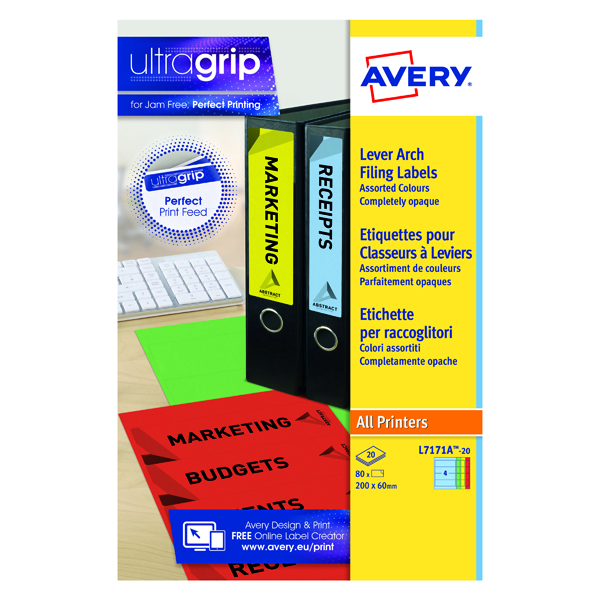 Filing Avery Assorted Lever Arch Spine Label 200x60mm (80 Pack) L7171A-20