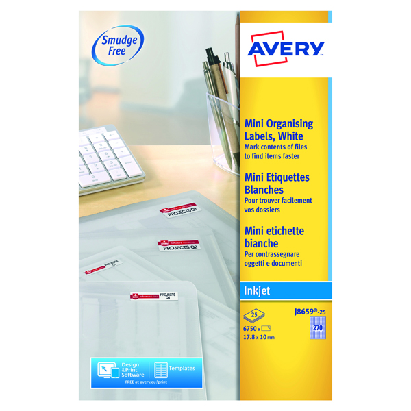 White A4 Sheet Avery Inkjet Mini Labels 17.8x10mm 270 Per Sheet White (6750 Pack) J8659-25