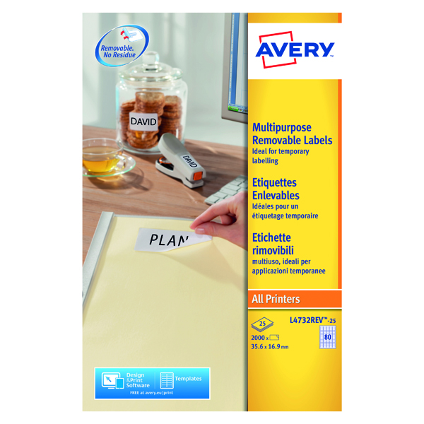 Avery Removable Labels 35.6x16.9mm 80 Per Sheet White (2000 Pack) L4732REV-25
