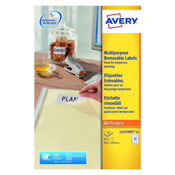 Avery Removable Labels 63.5x29.6mm 27 Per Sheet White (675 Pack) L4737REV-25