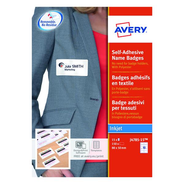 Avery Self-Adhesive Name Badges 80x50mm (150 Pack) J4785-15