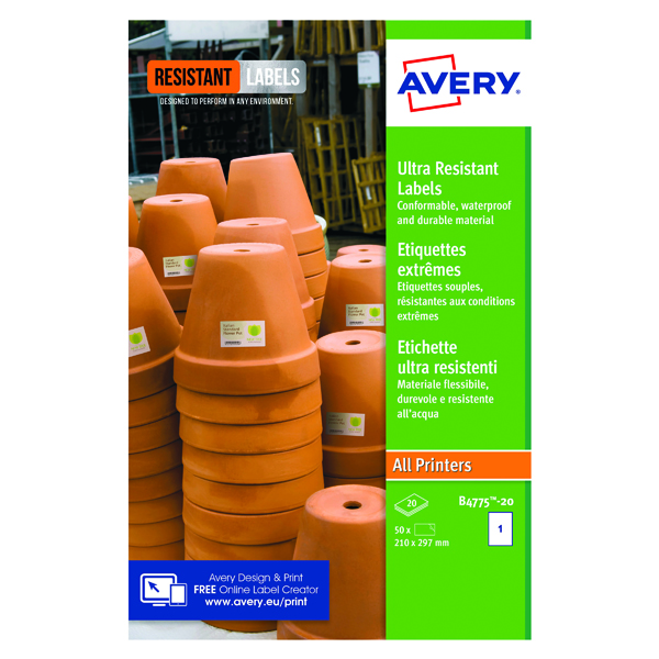 Avery Ultra Resistant Labels 210x297mm (20 Pack) B4775-20